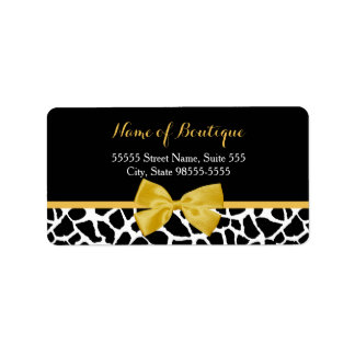 Trendy Giraffe Print Yellow Bow Fashion Boutique Address Label
