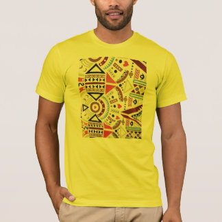 Trendy Girly Abstract Orange Brown Tribal Pattern T-Shirt