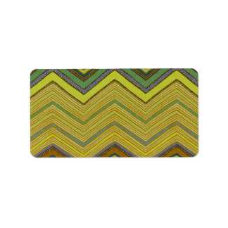 Trendy Girly Brown Yellow Zigzag Pattern Label