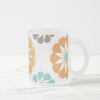 Trendy Girly Flower Pattern Floral Orange Blue Coffee Mugs
