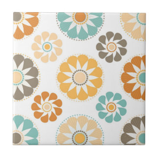 Trendy Girly Flower Pattern Floral Orange Blue Small Square Tile