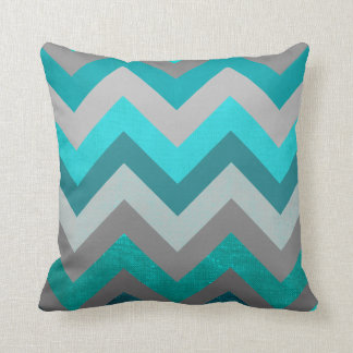 Trendy Girly Gray Teal Chevron Zigzag Pattern Cushion