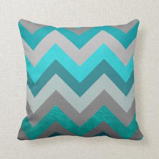 Trendy Girly Gray Teal Chevron Zigzag Pattern Throw Pillow