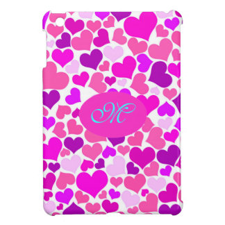 Trendy Girly Pink Confetti Hearts Initial Letter iPad Mini Case