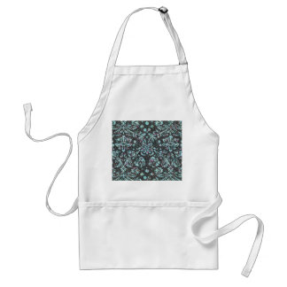 Trendy Girly Teal Floral Damask  Glitter Print Aprons