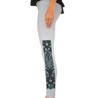 Trendy Girly Teal Floral Damask  Glitter Print Legging Tights