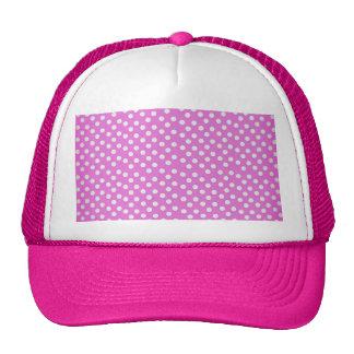 Trendy Girly Vintage Pink Polka Dots Pattern Mesh Hat