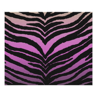 Trendy Girly Zebra Print Faded Pink to White Poster