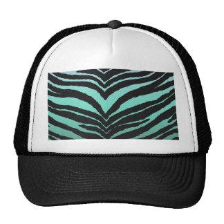 Trendy Girly Zebra Print Faded Teal to White Cap
