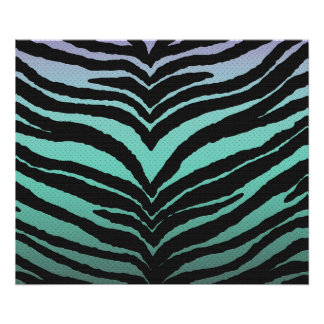 Trendy Girly Zebra Print Faded Teal to White
