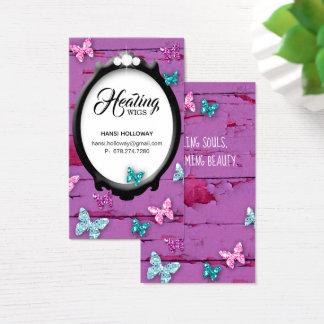 Trendy Glitter Butterfly Frame Hair Salon Wig Purp Business Card