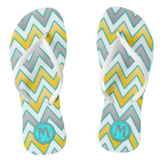 Trendy gold and silver chevron monogram thongs