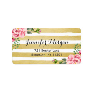 Trendy Gold and White Stripes Watercolor Floral Label