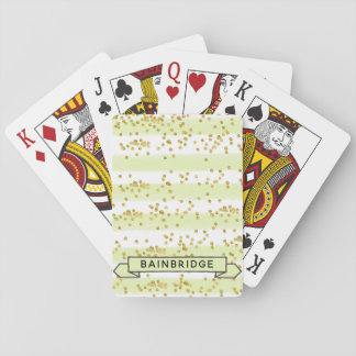 Trendy Gold Confetti Personalized Playing Cards