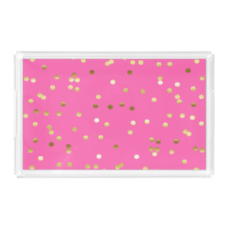 Trendy Gold Foil Confetti Hot Pink Acrylic Tray