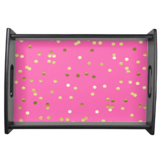 Trendy Gold Foil Confetti Hot Pink Serving Tray
