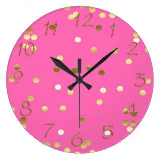 Trendy Gold Foil Confetti Hot Pink Wallclocks