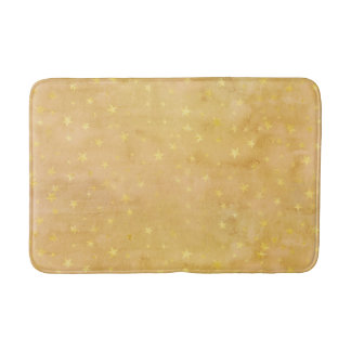 Trendy Gold Foil Stars Watercolor Bath Mat