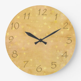 Trendy Gold Foil Stars Watercolor Large Clock