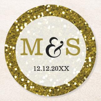 Trendy Gold Glitter Monogrammed Wedding Round Paper Coaster