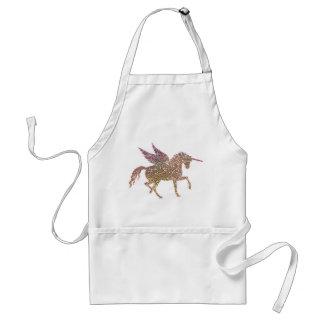 Trendy Gold Glitter Sparkle Unicorn Pegasus Horse Standard Apron