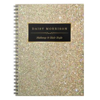 Trendy Gold Glitter Sparkles Makeup Beauty Salon Note Books
