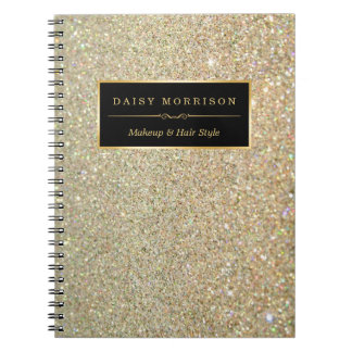 Trendy Gold Glitter Sparkles Makeup Beauty Salon Notebook