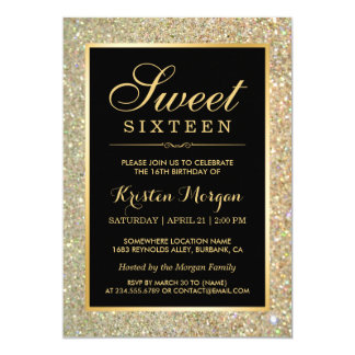 Trendy Gold Glitter Sparkles Sweet Sixteen Party 13 Cm X 18 Cm Invitation Card