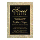 Trendy Gold Glitter Sparkles Sweet Sixteen Party Card