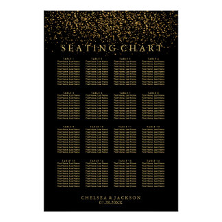 Trendy Gold Light on Black - Seating Chart