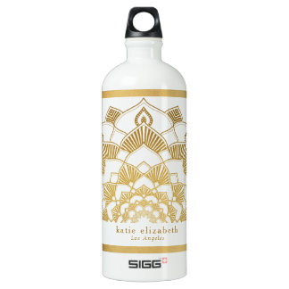 Trendy Gold Mandala Lace with Name and City Water Bottle