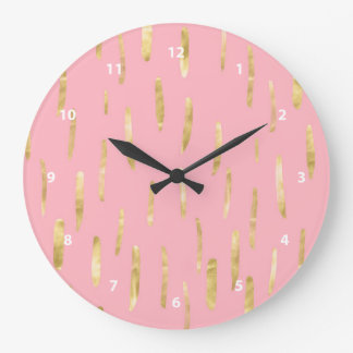 Trendy Gold Paint Strokes Pink Clock