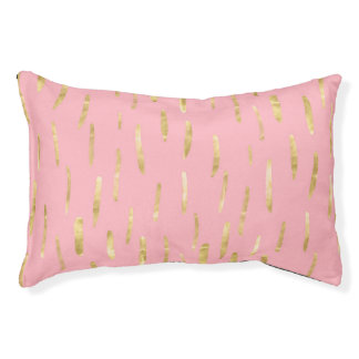Trendy Gold Paint Strokes Pink Pet Bed