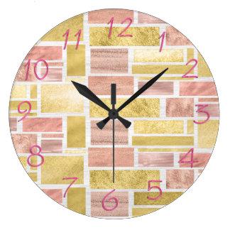Trendy Gold Pink Mauve Foil Blocks Wallclock