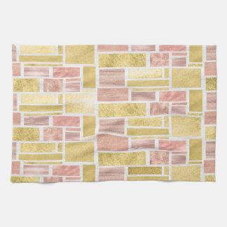 Trendy Gold Rose Gold Foil Blocks Tea Towel