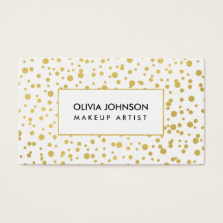 Trendy Gold Shimmer Makeup Artist Business Cards