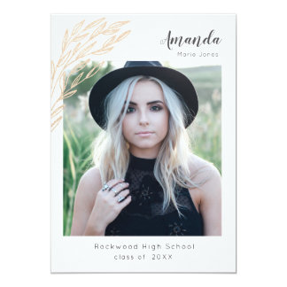 Trendy Grad Announcement/invite Faux Gold Branch Card