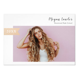 Trendy Grad Announcement Photo Card -  Faux Gold