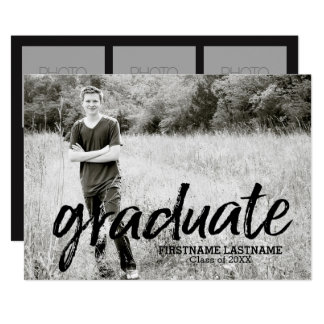 Trendy Graduation Announcement with 4 Photos