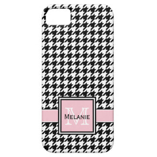 Trendy Graphic Houndstooth with Custom Monogram iPhone 5 Cover