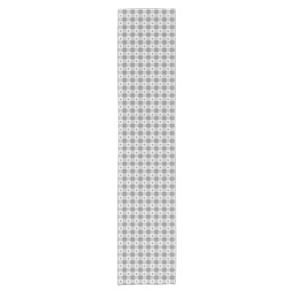 Trendy Gray And White Gingham Check Pattern Short Table Runner