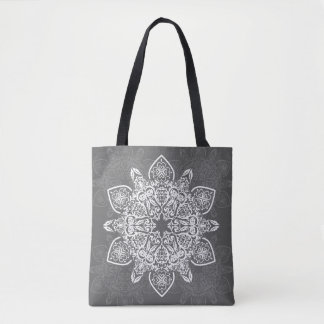 Trendy Gray and White Mandala | Tote Bag
