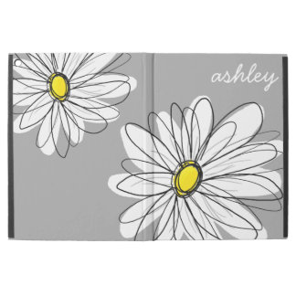 "Trendy Gray and Yellow Daisy Drawing iPad Pro 12.9"" Case"