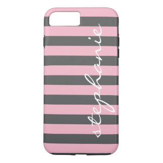Trendy Gray Striped Pattern with Custom name iPhone 8 Plus/7 Plus Case