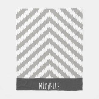 Trendy Gray White Chevron Arrows & Name Fleece Blanket