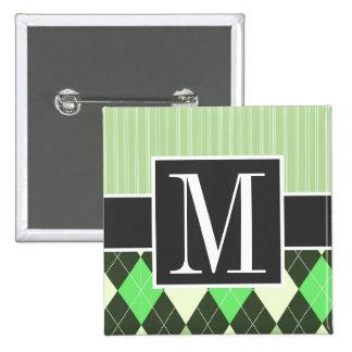Trendy Green Argyle Pattern Pins