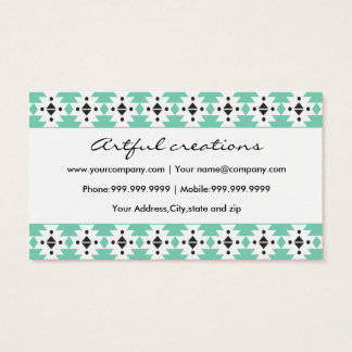 Trendy Green Aztec Pattern Business Card