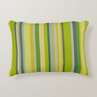 Trendy green bamboo coloured striped pattern decorative cushion