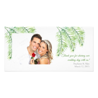 Trendy Green Palm Leaves Wedding Thank you Card