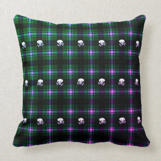 Trendy green purple black plaid decor pillow